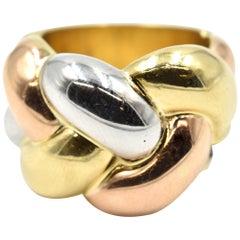 Tri-Tone 18 Karat Gold Fashion Ring