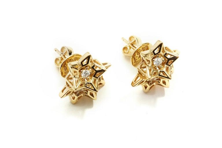 Women's Tria Frame Diamond Gold Stud Earrings For Sale