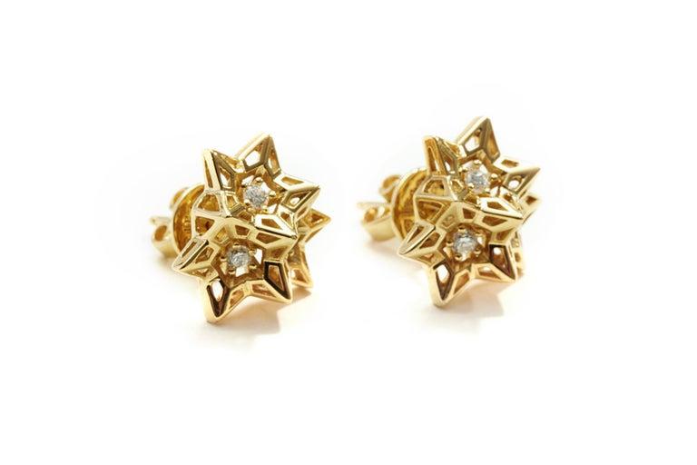 Tria Frame Diamond Gold Stud Earrings For Sale 1