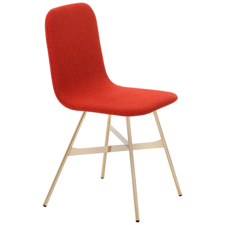 Tria Simple Chair, Golden Legs, Minimalist Design Icon Inspired to Graphic Art For Sale