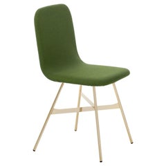 Tria Simple Chair Golden Legs Upholstered in Fine Palm Green Wool, Made in Italy