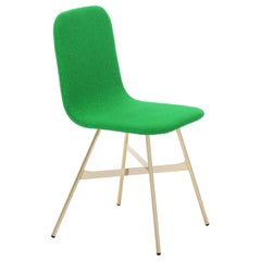 Tria Simple Chair Golden Legs Upholstered in Mint Green Velvet Made in Italy
