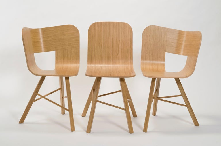 Italian Tria Simple Chair Oak by Colé, Minimalist Design Icon Inspired to Graphic Art For Sale