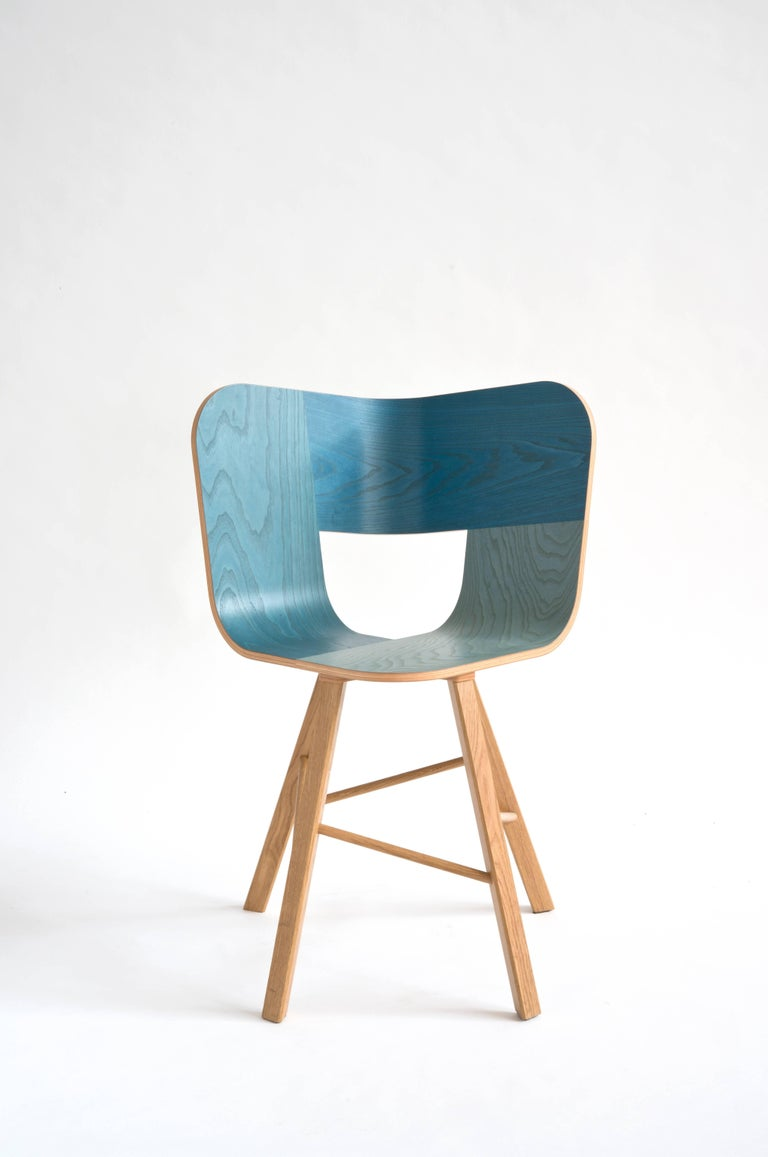Tria Wood 4 Chair, Red Asch Veneered Coat; Design Icon Inspired to Graphic Art For Sale 7