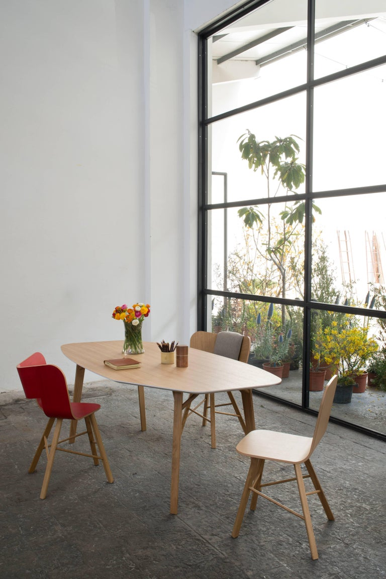 Minimalist Tria Wood 4 Chair, Red Asch Veneered Coat; Design Icon Inspired to Graphic Art For Sale
