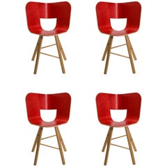 Tria Wood 4 Chair, Red Asch Veneered Coat; Design Icon Inspired to Graphic Art