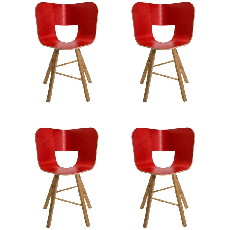Tria Wood 4 Chair, Red Asch Veneered Coat; Design Icon Inspired to Graphic Art For Sale