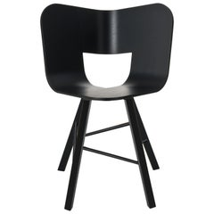 Tria Wood Four Chair, Black Painted, Design Icon Inspired to Graphic Art