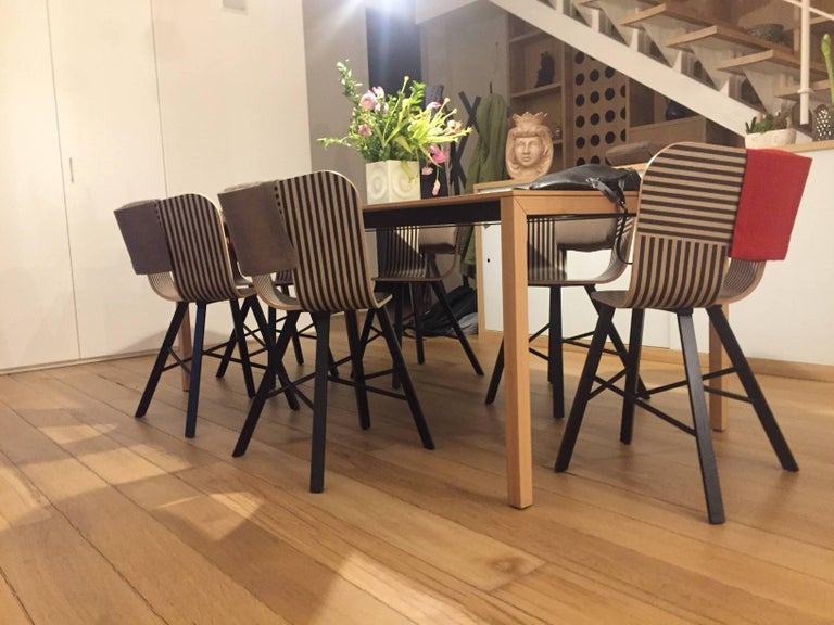 Tria Wood Four Chair, Denim Veneered Coat, Design Icon Inspired to Graphic Art For Sale 2