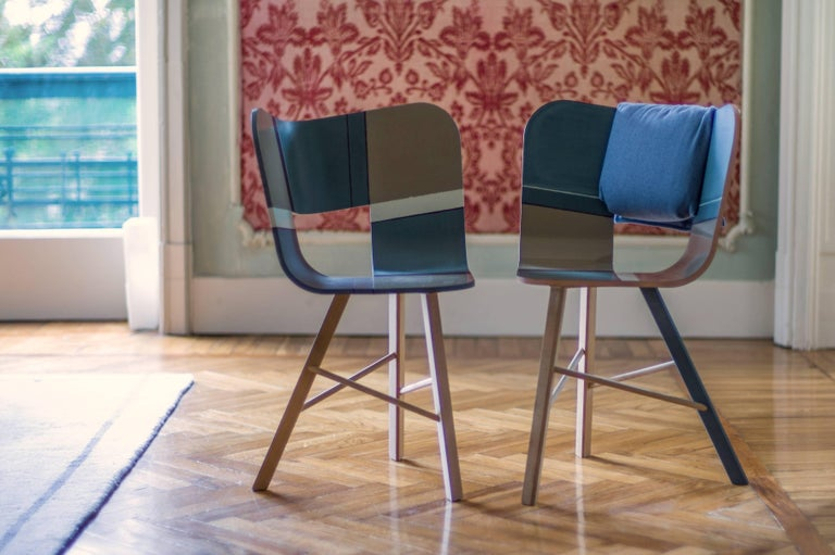 Tria Wood Four Chair, Denim Veneered Coat, Design Icon Inspired to Graphic Art For Sale 4