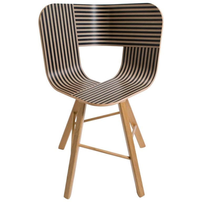 Tria Wood Four Chair, Denim Veneered Coat, Design Icon Inspired to Graphic Art For Sale 5