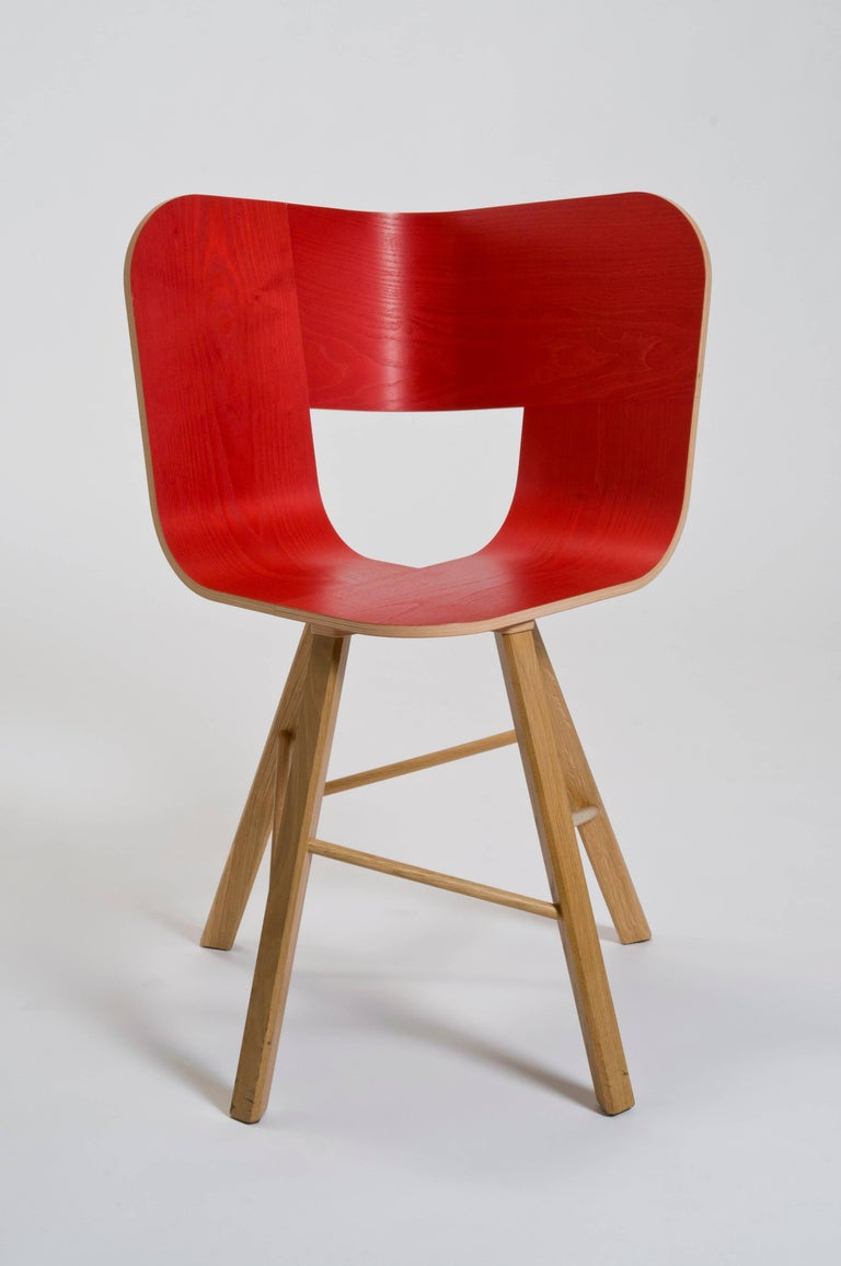 Tria Wood Four Chair, Denim Veneered Coat, Design Icon Inspired to Graphic Art For Sale 6