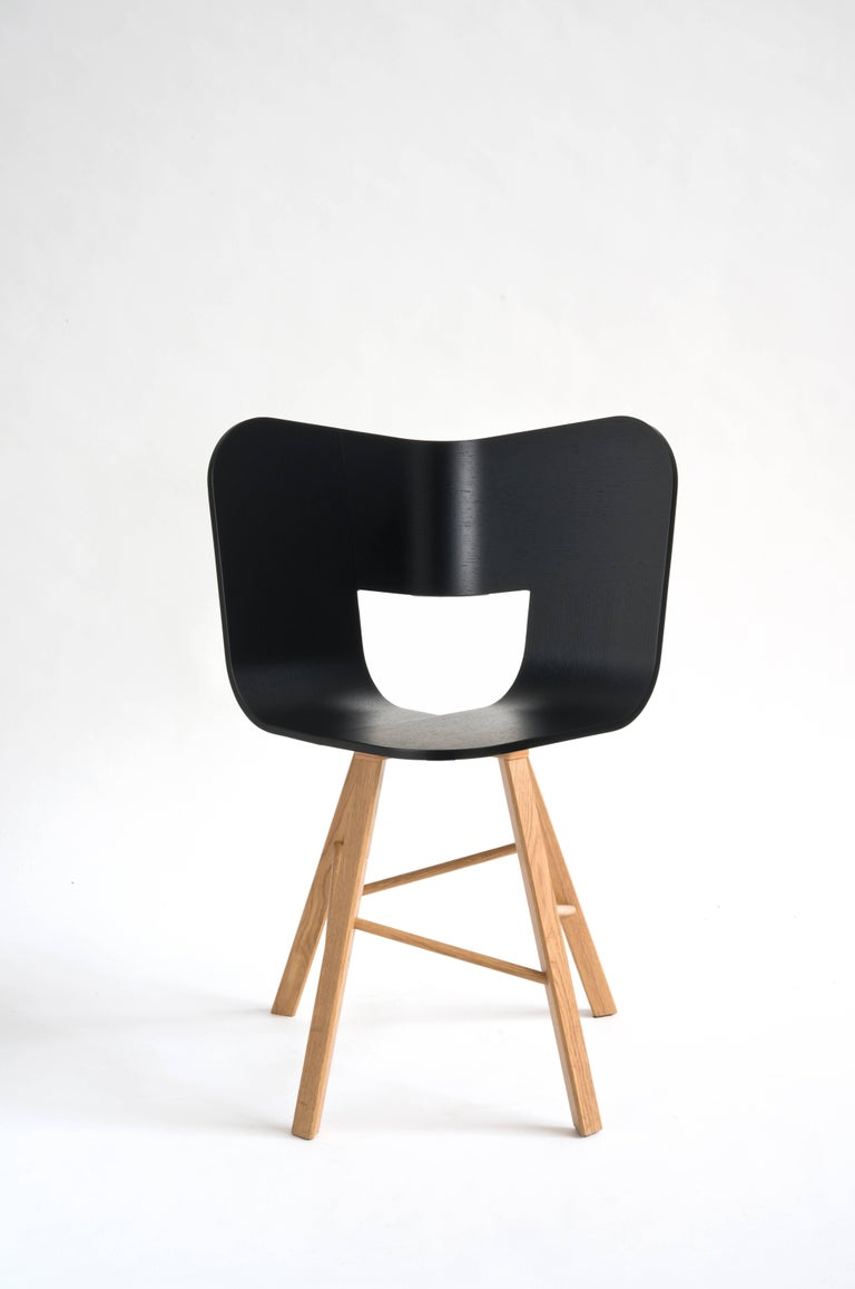 Tria Wood Four Chair, Denim Veneered Coat, Design Icon Inspired to Graphic Art For Sale 7