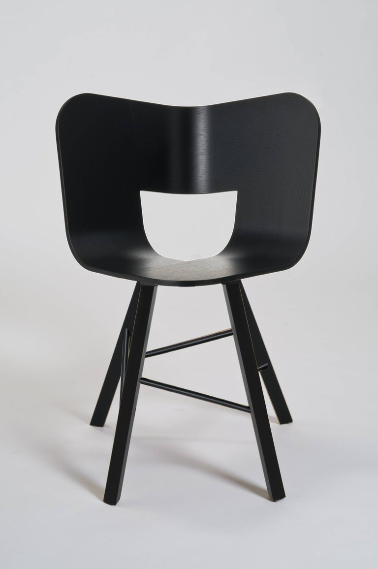Tria Wood Four Chair, Denim Veneered Coat, Design Icon Inspired to Graphic Art For Sale 8