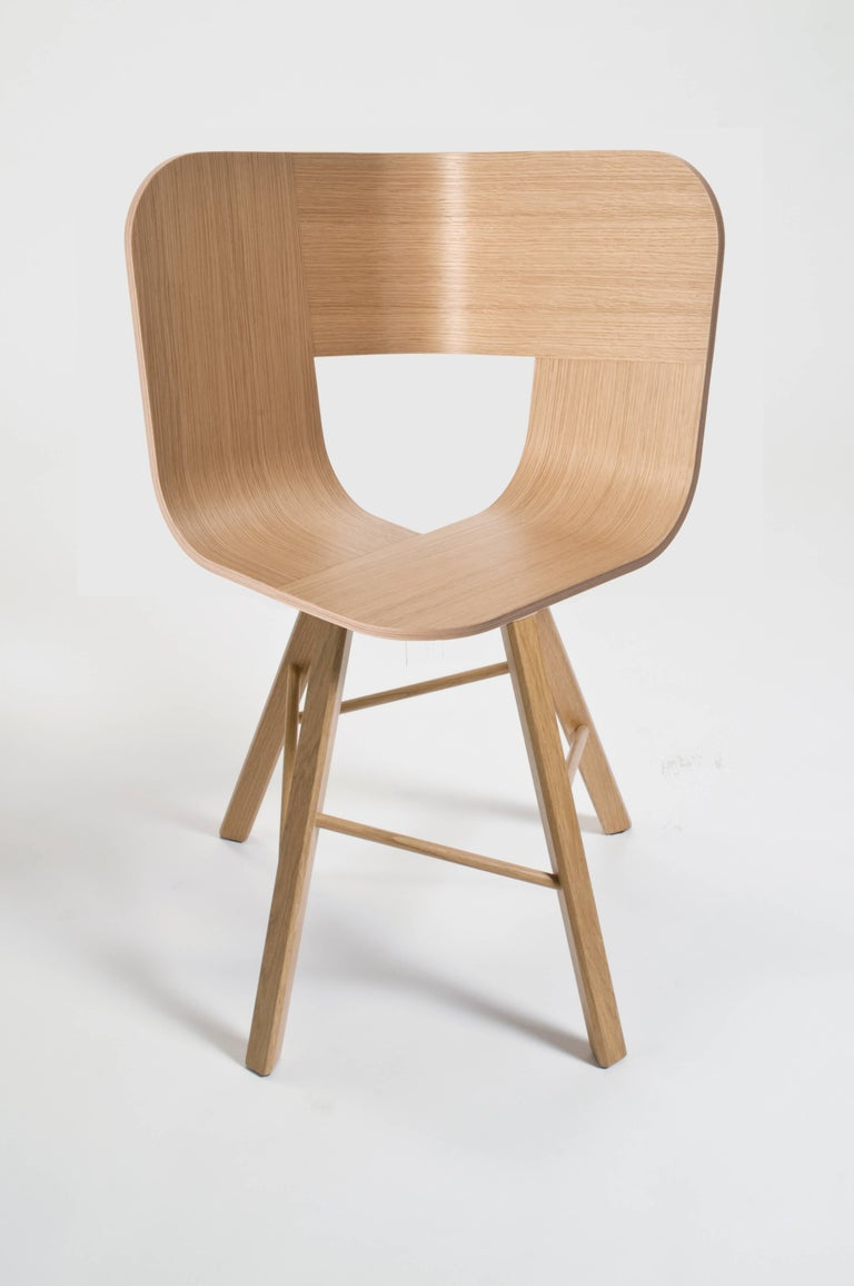 Tria Wood Four Chair, Denim Veneered Coat, Design Icon Inspired to Graphic Art For Sale 9