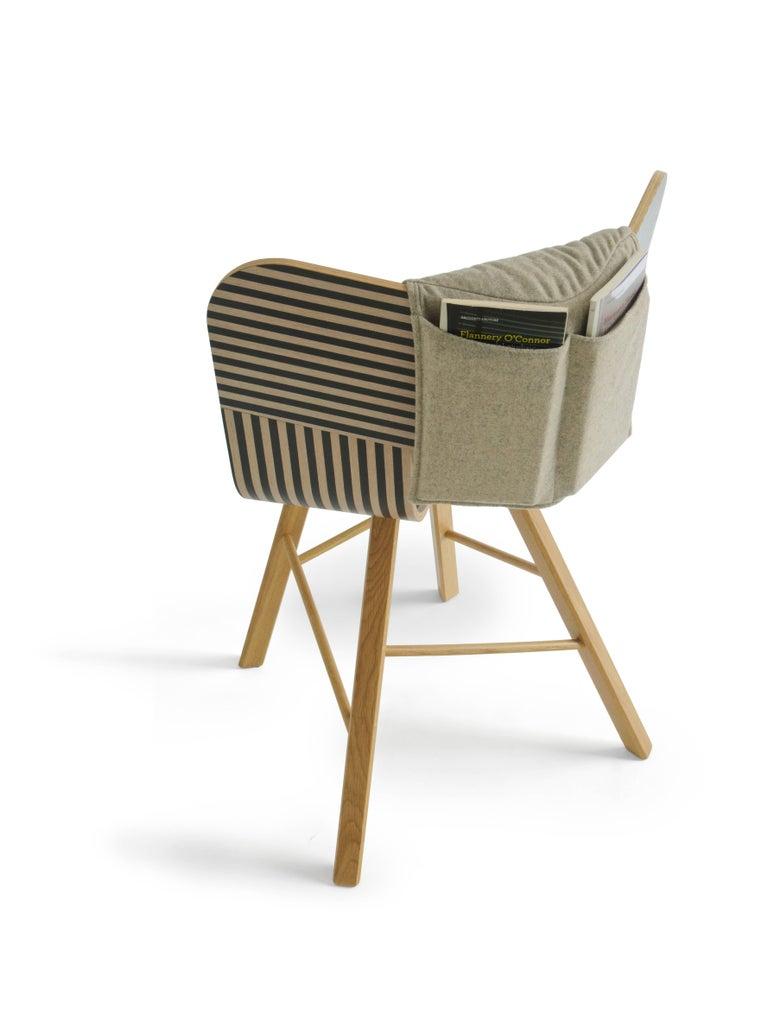 Italian Tria Wood Four Chair, Denim Veneered Coat, Design Icon Inspired to Graphic Art For Sale