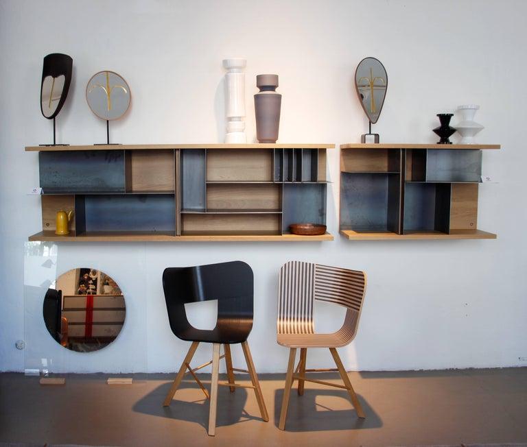 Oak Tria Wood Four Chair, Denim Veneered Coat, Design Icon Inspired to Graphic Art For Sale