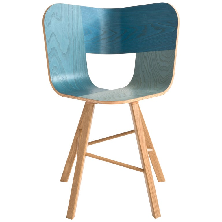 Tria Wood Four Chair, Denim Veneered Coat, Design Icon Inspired to Graphic Art For Sale