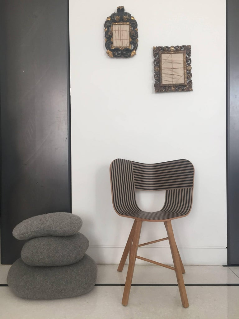 Tria Wood Four Chair, Stripes Veneered Coat; Design Icon Inspired to Graphic Art For Sale 3