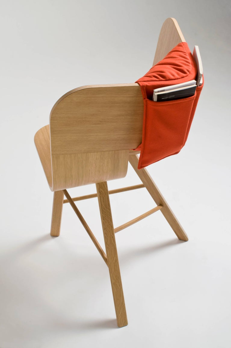 Tria Wood Four Chair, Stripes Veneered Coat; Design Icon Inspired to Graphic Art For Sale 11