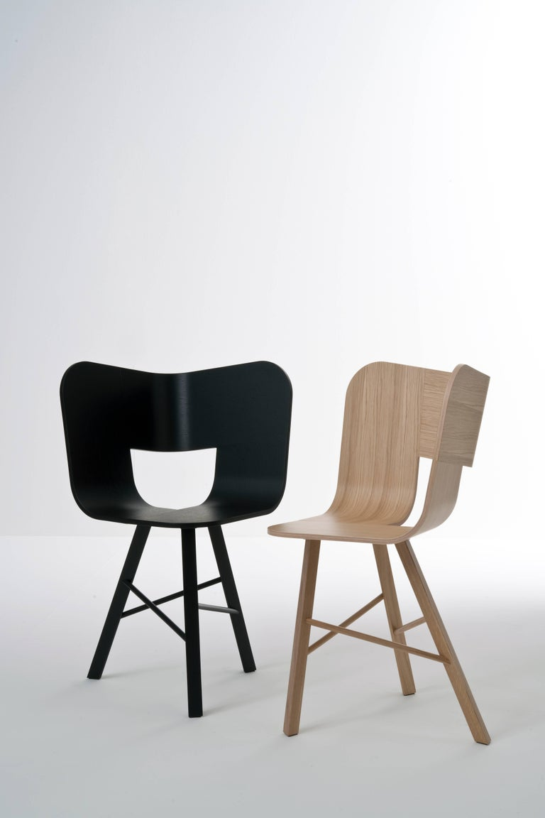 Tria Wood Four Chair, Stripes Veneered Coat; Design Icon Inspired to Graphic Art For Sale 12