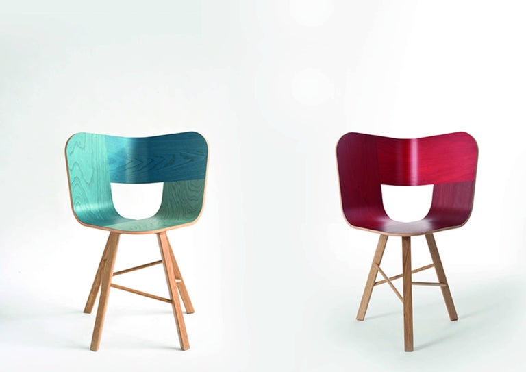 Tria Wood Four Chair, Stripes Veneered Coat; Design Icon Inspired to Graphic Art For Sale 13