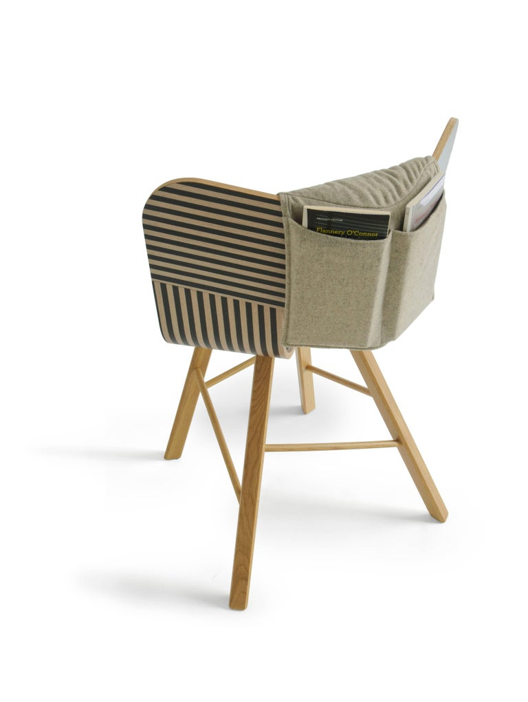 Minimalist Tria Wood Four Chair, Stripes Veneered Coat; Design Icon Inspired to Graphic Art For Sale