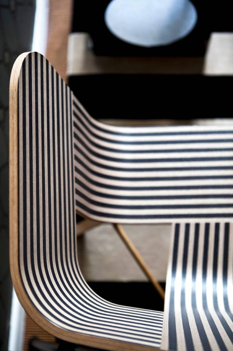 Contemporary Tria Wood Four Chair, Stripes Veneered Coat; Design Icon Inspired to Graphic Art For Sale
