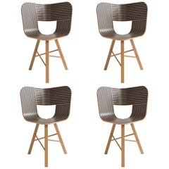 Tria Wood Four Chair, Stripes Veneered Coat; Design Icon Inspired to Graphic Art