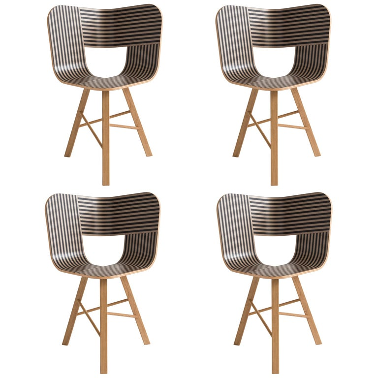 Tria Wood Four Chair, Stripes Veneered Coat; Design Icon Inspired to Graphic Art For Sale