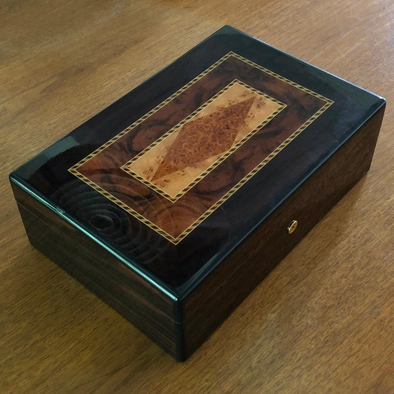 Triade Cigar Humidor with Marquetry Top For Sale 4