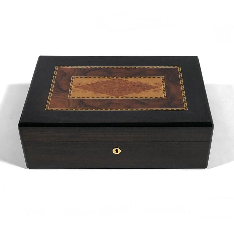 Modern Triade Cigar Humidor with Marquetry Top For Sale