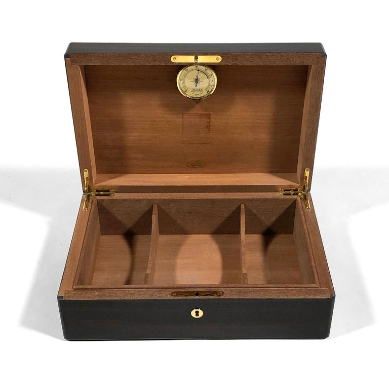 French Triade Cigar Humidor with Marquetry Top For Sale