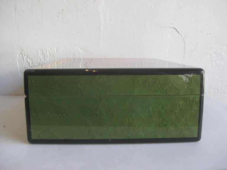 Triade French Burl Wood Inlay Lacquered Mahogany Cigar Humidor Tobacco Box For Sale 6