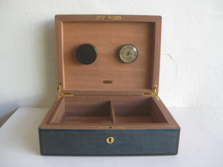 Triade French Burl Wood Inlay Lacquered Mahogany Cigar Humidor Tobacco Box For Sale 7