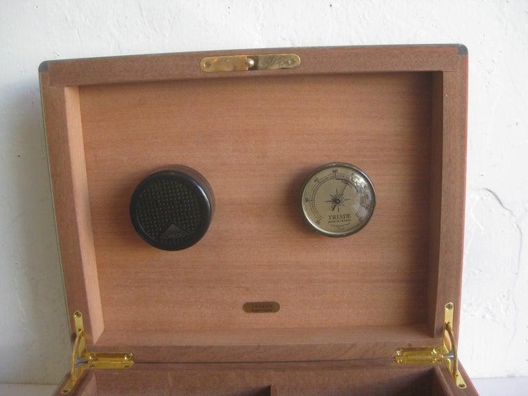 Triade French Burl Wood Inlay Lacquered Mahogany Cigar Humidor Tobacco Box For Sale 8