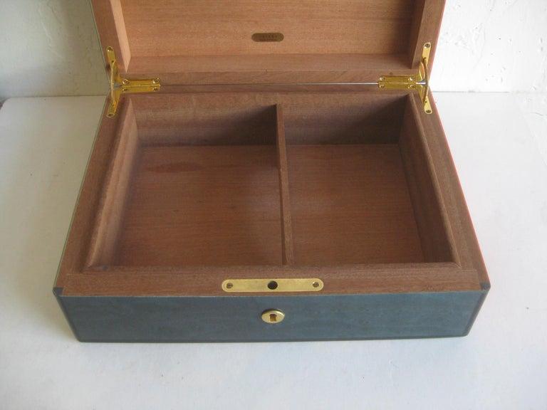 Triade French Burl Wood Inlay Lacquered Mahogany Cigar Humidor Tobacco Box For Sale 9