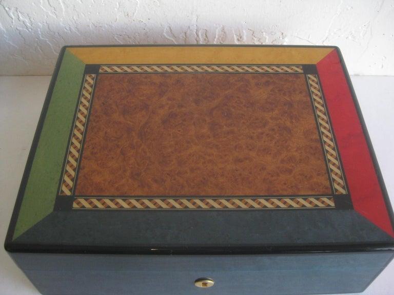 20th Century Triade French Burl Wood Inlay Lacquered Mahogany Cigar Humidor Tobacco Box For Sale
