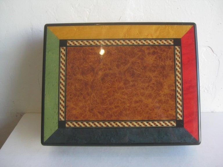 Triade French Burl Wood Inlay Lacquered Mahogany Cigar Humidor Tobacco Box For Sale 1