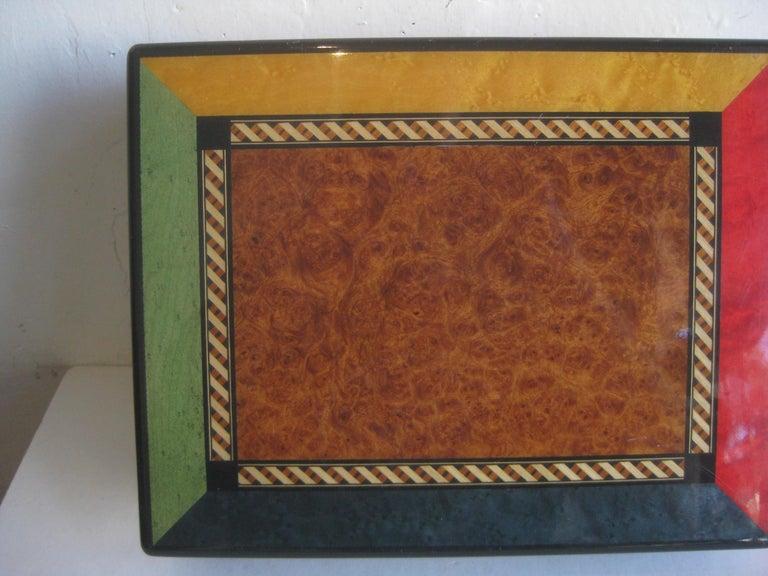 Triade French Burl Wood Inlay Lacquered Mahogany Cigar Humidor Tobacco Box For Sale 2