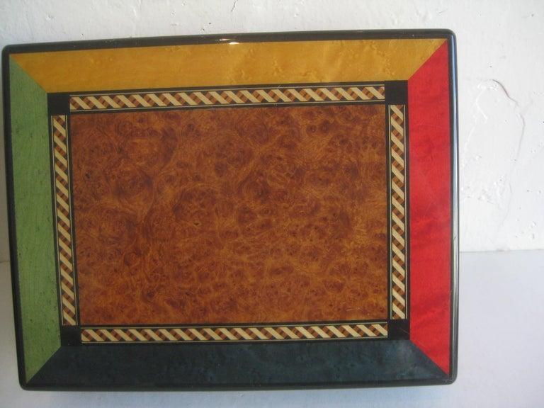 Triade French Burl Wood Inlay Lacquered Mahogany Cigar Humidor Tobacco Box For Sale 3