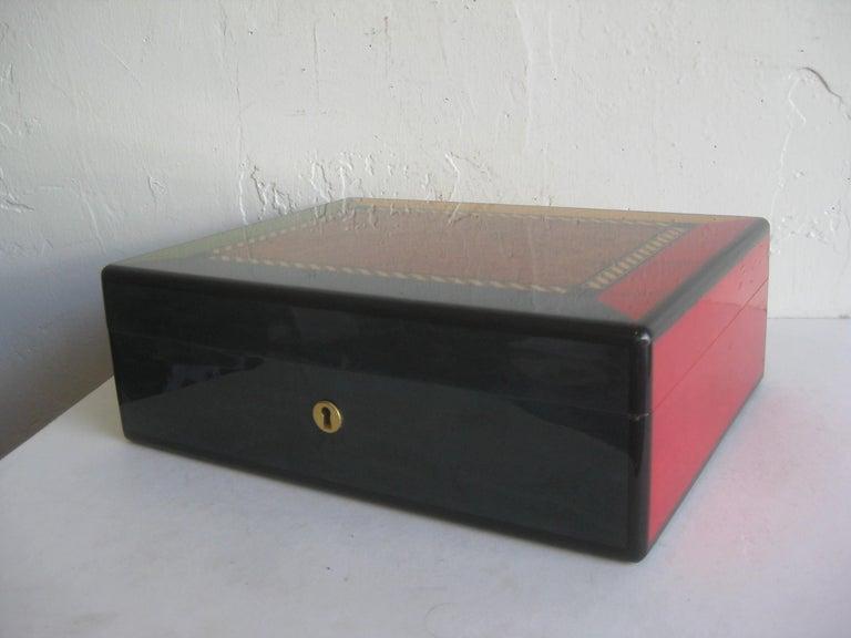 Triade French Burl Wood Inlay Lacquered Mahogany Cigar Humidor Tobacco Box For Sale 4