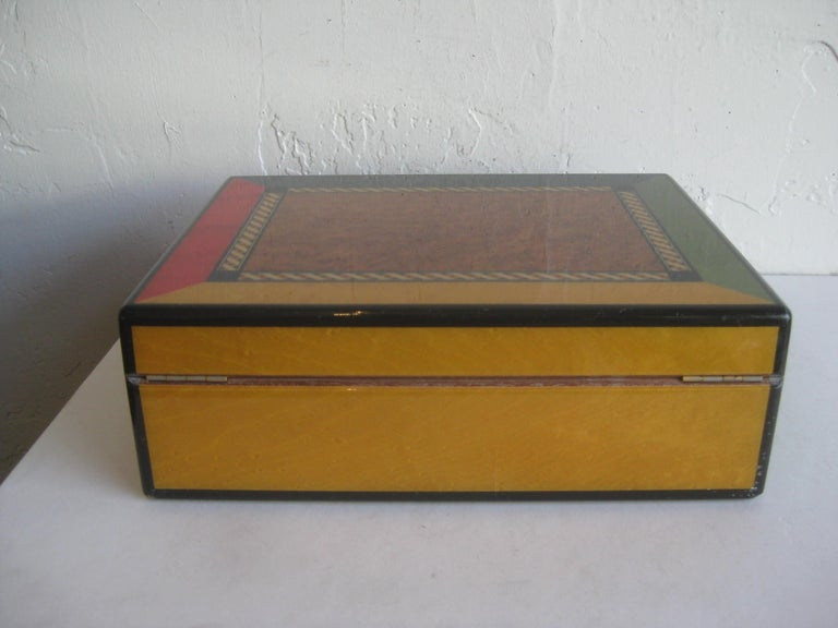 Triade French Burl Wood Inlay Lacquered Mahogany Cigar Humidor Tobacco Box For Sale 5