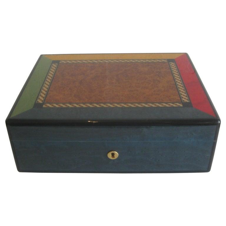 Triade French Burl Wood Inlay Lacquered Mahogany Cigar Humidor Tobacco Box For Sale