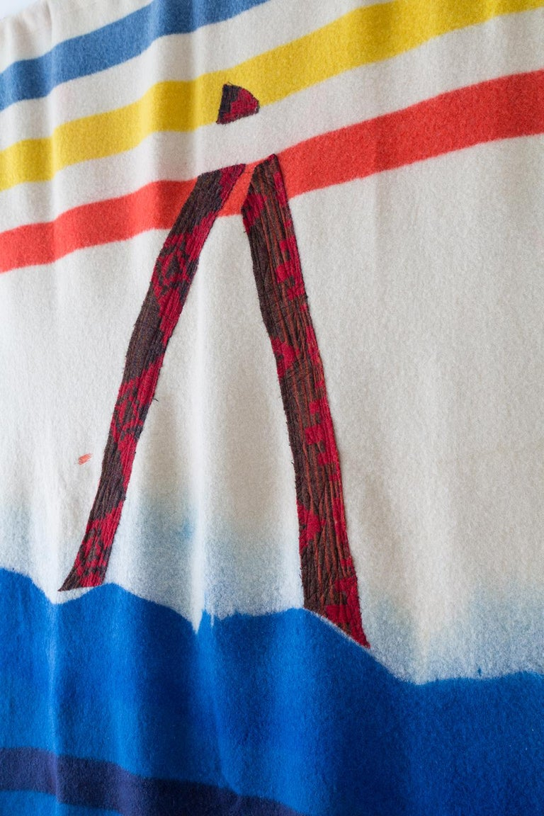 Contemporary 'Triangle 1' Quilt Painting Wool Tapestry Textile Art, in Stock For Sale