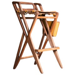 Triangle Barstool, Contemporary Organic Barstool in Walnut and Thick Leather