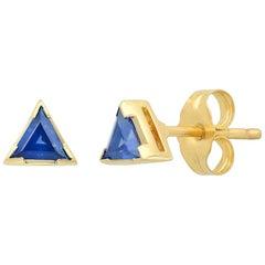 Triangle Blue Sapphire Stud Earrings, Gold, Ben Dannie