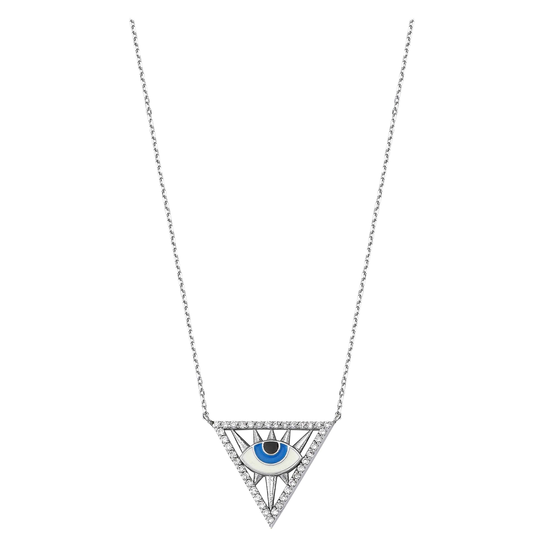 Triangle Evil Eye Necklace 18 Karat White Gold Diamond & Enamel