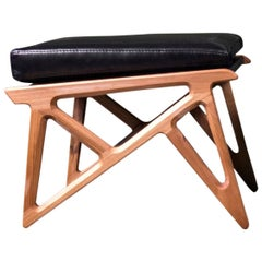 Triangle Foot Rest, Contemporary Organic Shaped Foot Rest in Walnut and Leather