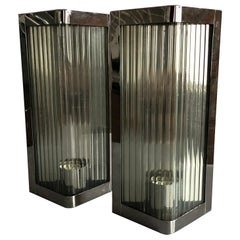 Triangle Form Polished Stainles Steel and Reeded Glass Wall Lights, Italy, 1990s